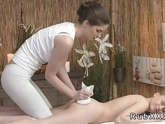 Sexy lesbians tribbing in massage room