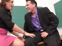 Teacher Shows Star Pupil How to Handjob