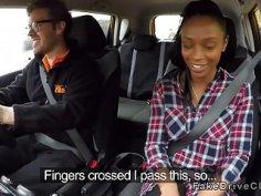 Busty examiner finger fucks ebony student