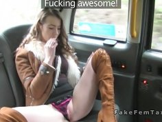 Big tits redhead cab driver tribbing