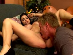 Harley Rain sucks and spreads her legs wide open for pussy licking.