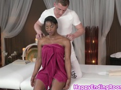 Erotic massage ebony fucked by her masseur