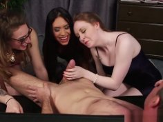 Busty British Femdoms Jerk Subs Cock In Group
