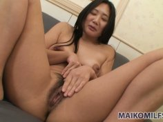 Modest Japanese milf Tomomi Sawamura transforms into busty sexited chick