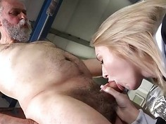 Horny old fucker enjoys sex with young hottie