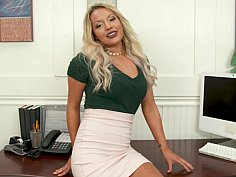 Blonde office girl pleasing her boss in POV