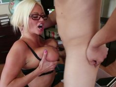 Busty slut Nikita Von James gives a tremendous titjob and gets her wet twat licked dry