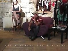 Busty MILF agent whore seduces a shy beginner guy