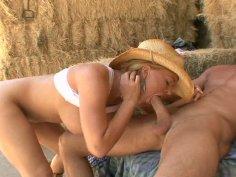 Busty blonde Krissy Lynn rides cowboy cock on the farm