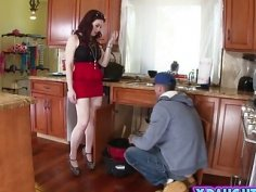 Dark haired teen gets banged by plumber big cock