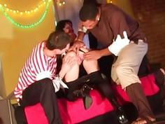 Hard fuck threesome young girl on Halloween xxx