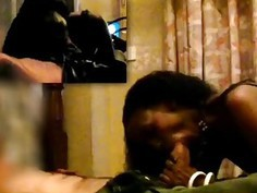 Gorgeous African babe rides hard cock in interracial action