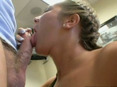 Voluptuous Camryn Kiss gives a solid blowjob for cock juice