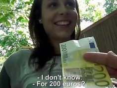 Nasty Eurobabe gets her pussy fucked by stranger for money