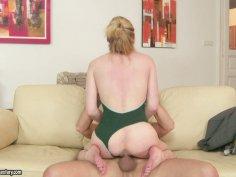Bald fucker gets a footjob from seductive beauty Lily LaBeau
