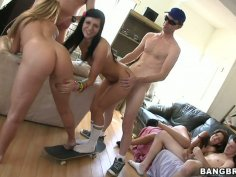 Nice orgy on the couch with Ashli Orion, Kelly Skyline and Isis Taylor
