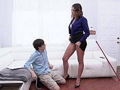 Trimmed pussy mommy punishes her stepson