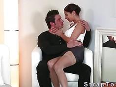 Beautiful babe fucks guy with strap on dildo