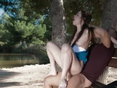 Public rough anal sex in park